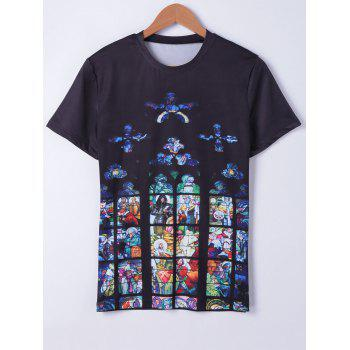 Fashionable Round Neck Oil Painting Printing Short Sleeves T-Shirt For Men