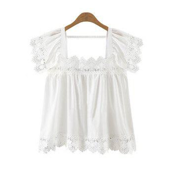 Trendy Women's Square Neck Lace Splicing Top
