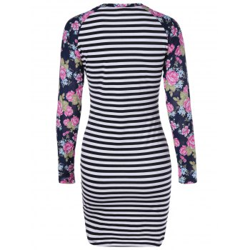Fashionable Long Sleeves Printing Splice Striped Round Collar Dress For Women - WHITE/BLACK XL