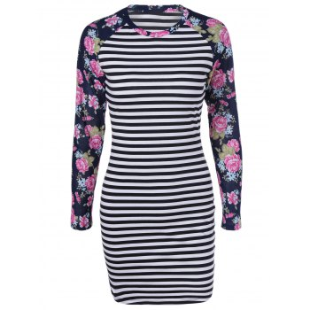 Fashionable Long Sleeves Printing Splice Striped Round Collar Dress For Women