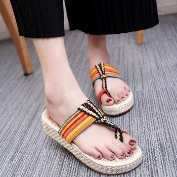 Ethnic Style Striped and Weaving Design Women's Slippers