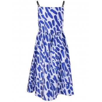 Fashionable Loose-Fitting Spaghetti Strap Dress With Printing For Women - BLUE/WHITE XL