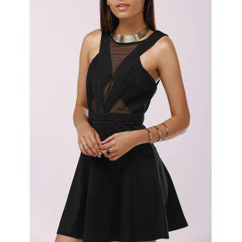 Fashionable Woman's Gauze Splice Cut-Out Drees