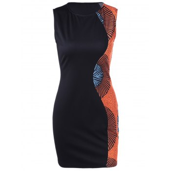 Retro Style Women's Sleeveless Round Collar Printing Slim Dress