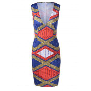 Ethnic Style Women's Fitted V-Neck Geometric Print Dress