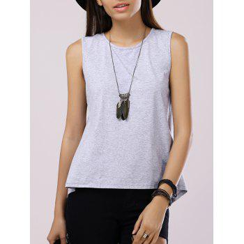 Fashionable Women's Round Neck Sleeveless Back Split Back Split Tank Top