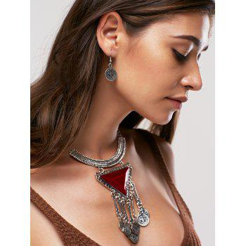A Suit of Faux Gem Triangle Coin Tassel Statement Necklace and Earrings - DARK RED