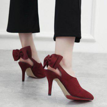 Buy Elegant Suede Bow Design Women's Pumps RED
