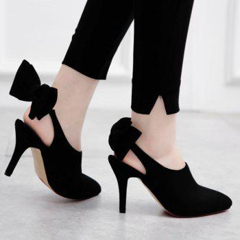 Buy Elegant Suede Bow Design Women's Pumps BLACK