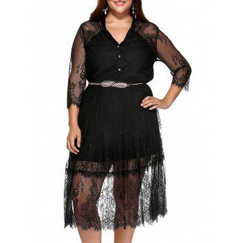 Elegant Plus Size Stand Collar Buttoned Lace Dress
