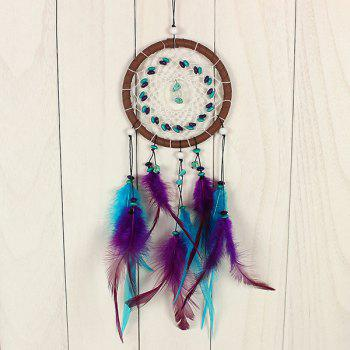 Chic Circular Net With Feathers Turquoise Dreamcatcher Wall Hanging Decor - COLORMIX