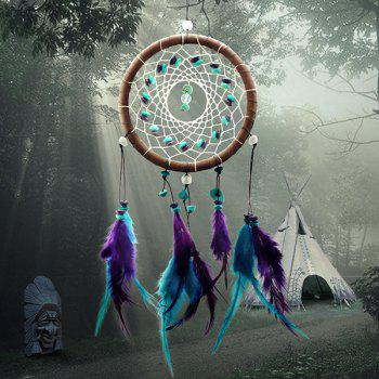 Chic Circular Net With Feathers Turquoise Dreamcatcher Wall Hanging Decor