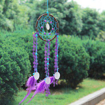 Chic Circular Net With Feathers Sandalwood Bead Dreamcatcher Wall Hanging Decor