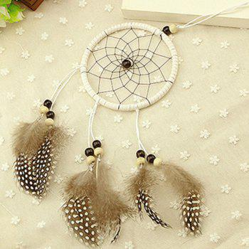 New Circular Net With Natural Feathers Wood Dreamcatcher Wall Hanging Decor -  COLORMIX