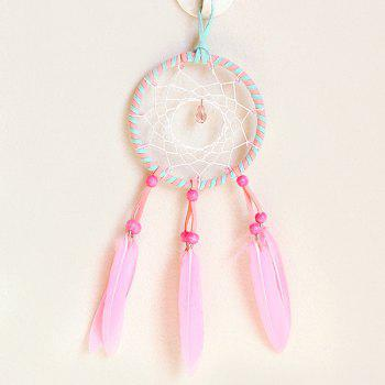 Chic Circular Net With Pink Feathers Crystal Dreamcatcher Wall Hanging Decor