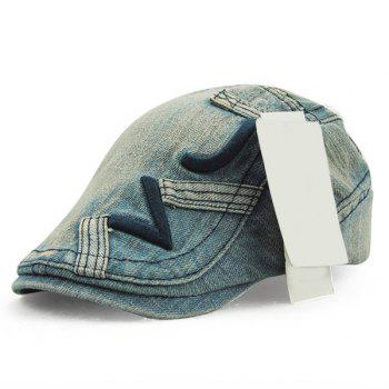 Buy Stylish Letter Shape Embroidery Old Denim Fabric Cabbie Hat PURPLISH BLUE