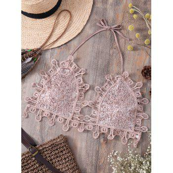 Alluring Halter Sequins Embellished Lace Camisole For Women