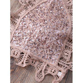 Alluring Halter Sequins Embellished Lace Camisole For Women - S S