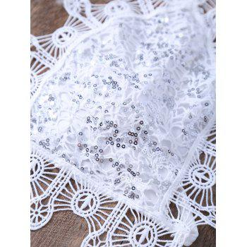 Alluring Halter Lace Sequins Embellished Camisole For Women - WHITE WHITE