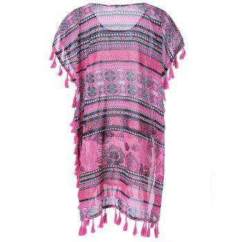 U-Neck Slit Fringe Splicing Blouse s 'Casual femmes - Rose Abricot S