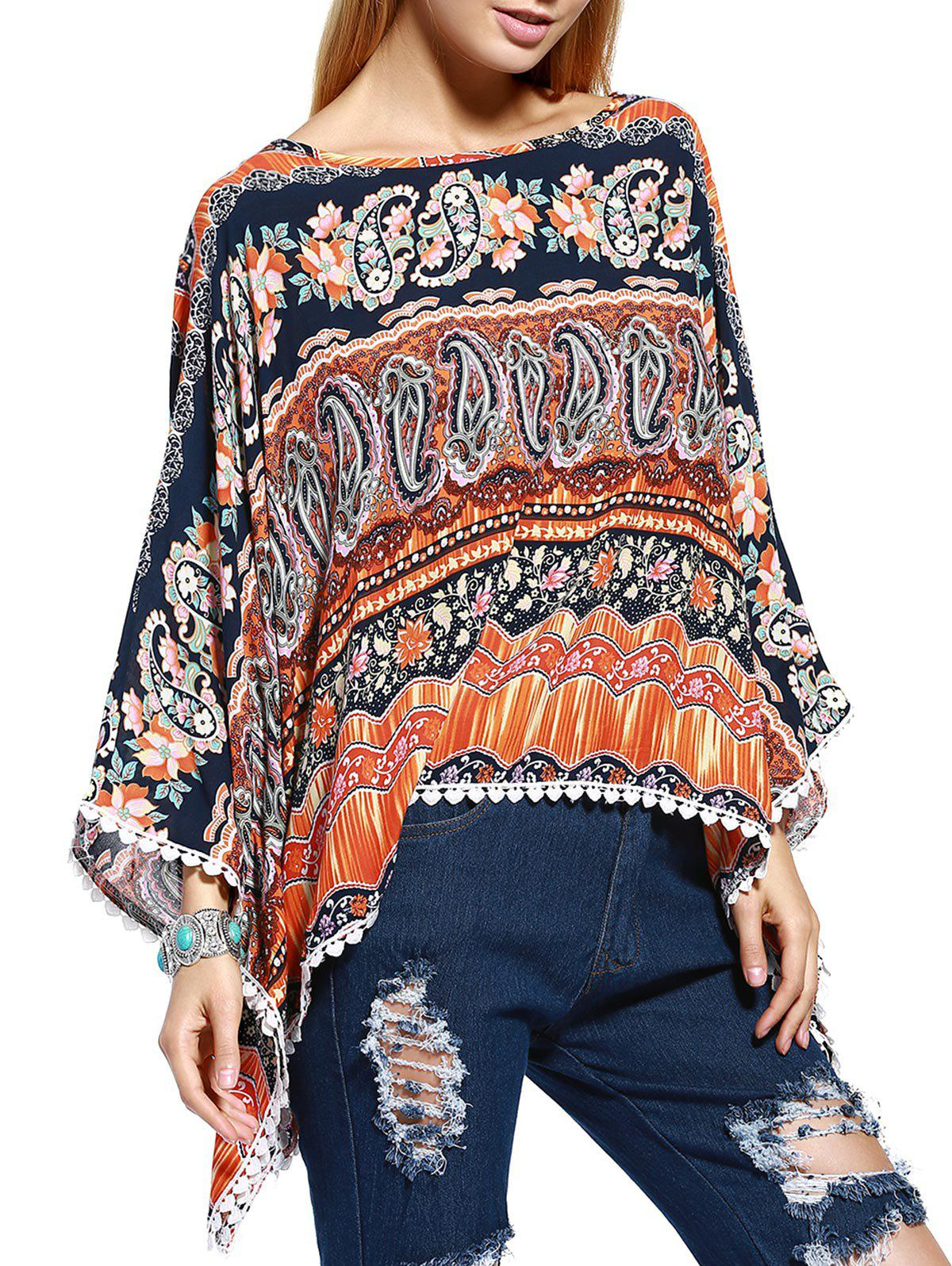 Chic Paisley Floral Print Crochet Trim Women's Blouse - ORANGE ONE SIZE(FIT SIZE XS TO M)