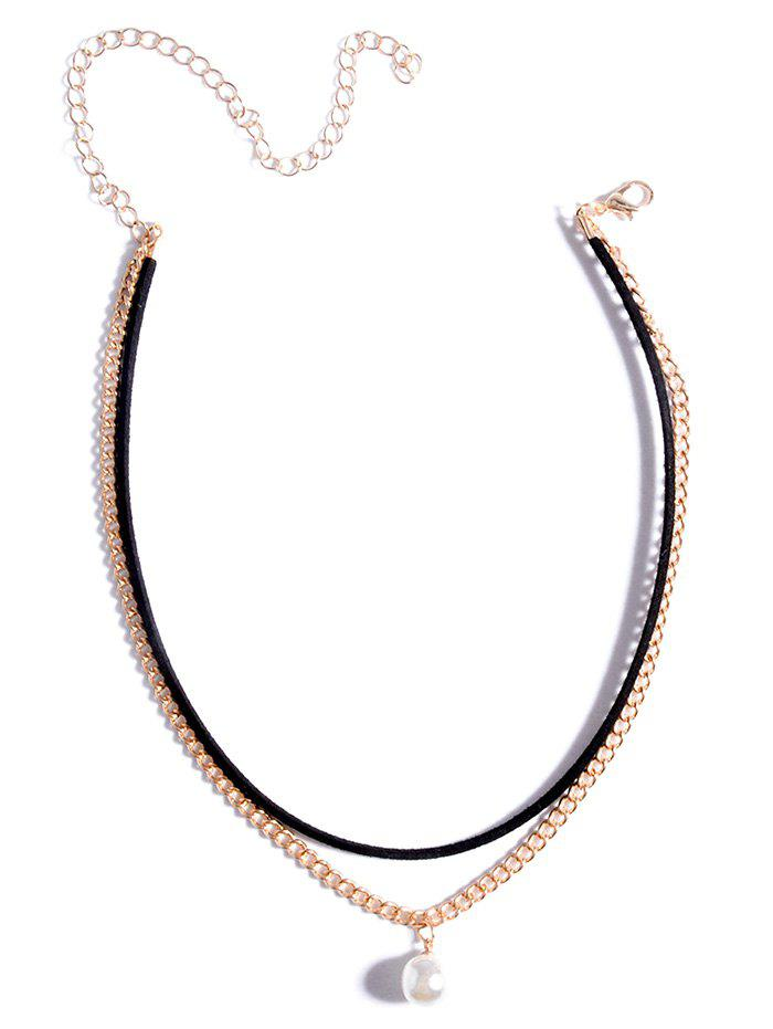 Layered Faux Pearl Chokers Necklace - GOLDEN