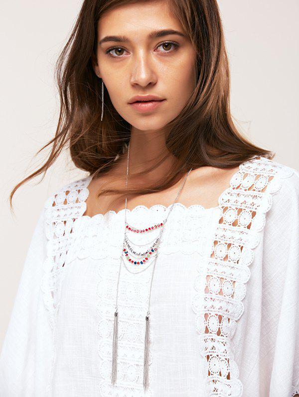 A Suit of Elegant Beads Layered ChainTassel Necklace and Earrings For Women