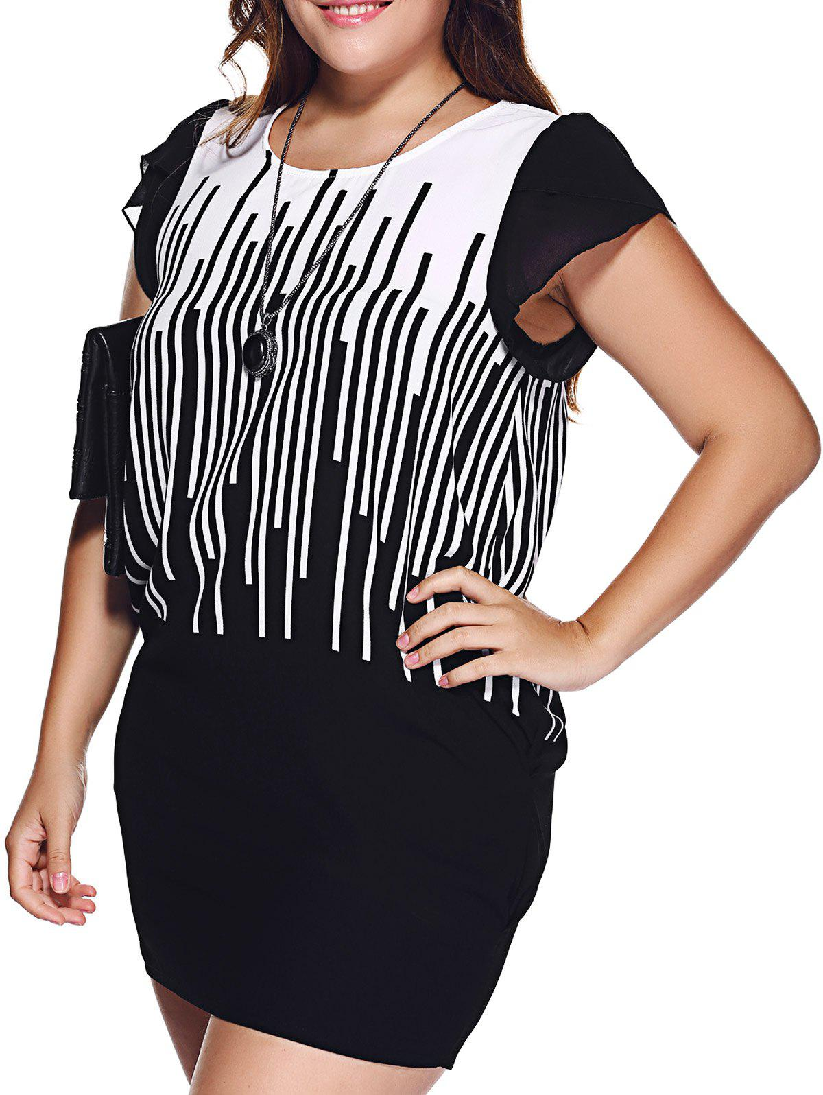 Chic Plus Size Hit Color Striped Mini Dress