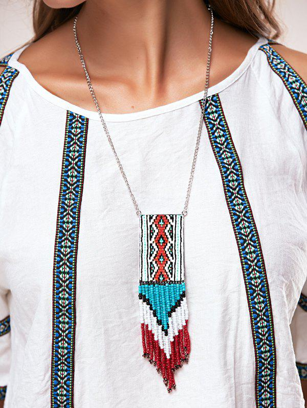 A Suit of Vintage Multilayer Knitted Cloth Bead Tassel Pendant Necklaces - BLUE