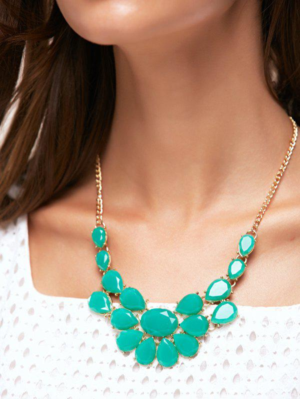 Faux Gem Water Drop Shape Geometric Necklace - VERDIGRIS