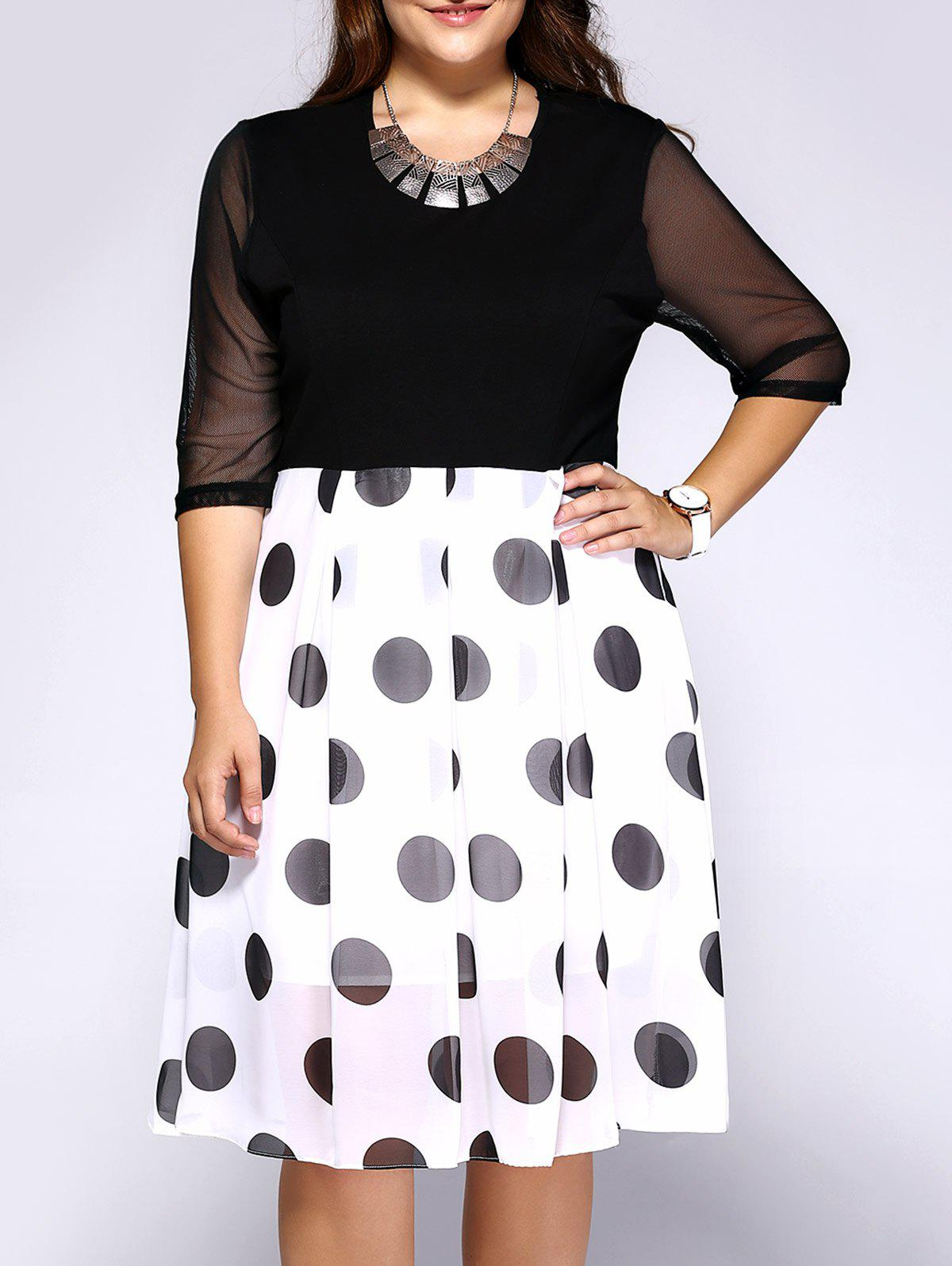 Chic Plus Size Polka Dot Print Hit Color Dress