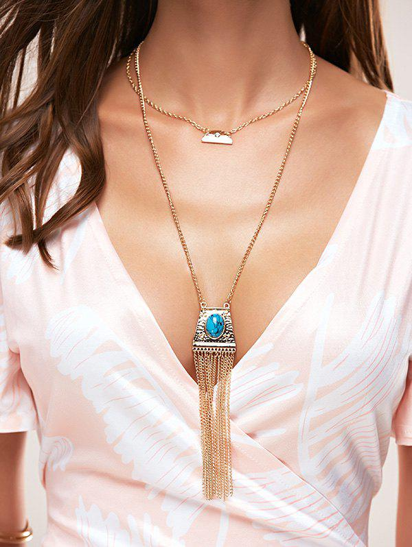 Chic Style Faux Turquoise Geometric Sweater Chain For Women - GOLDEN