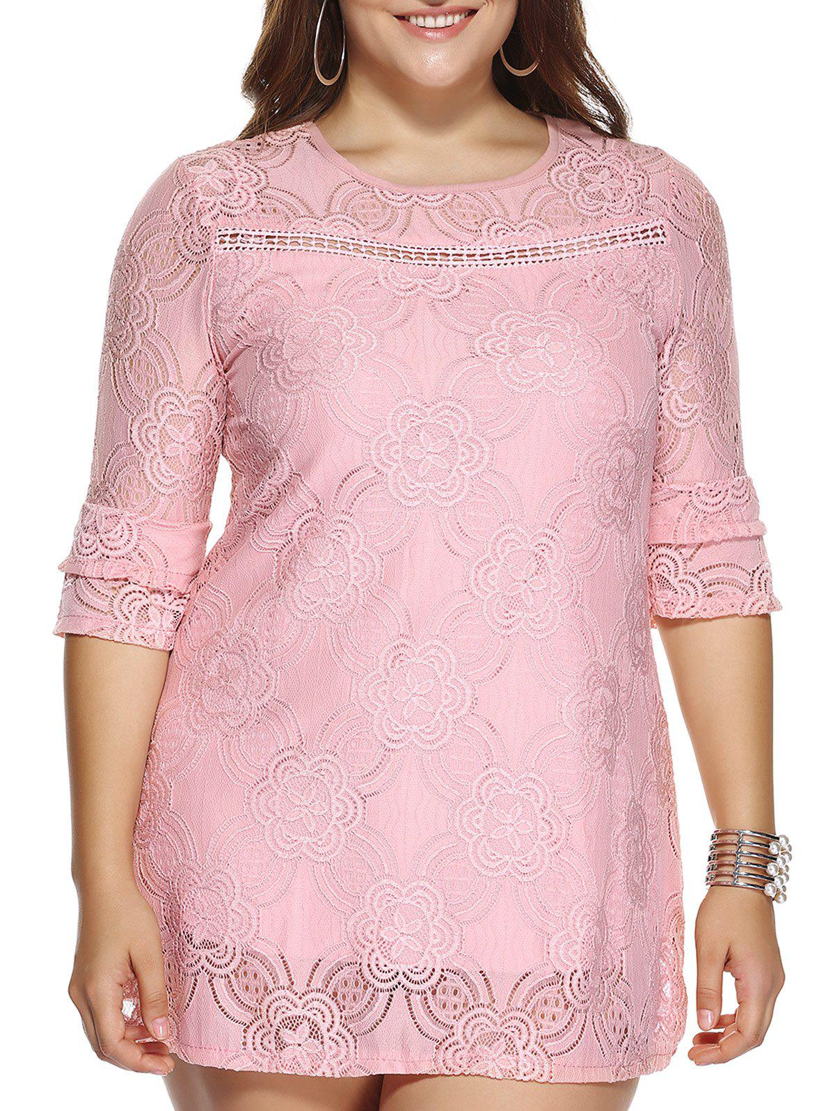 Chic Plus Size Hollow Out Lace Dress - PINK 3XL