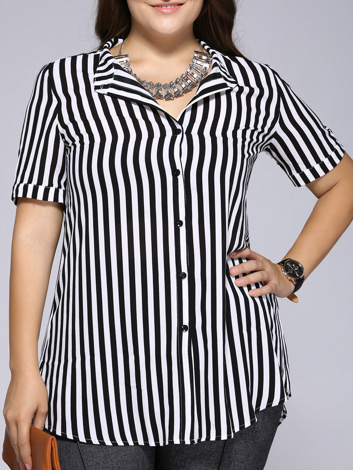 Simple Plus Size Striped Stand Collar Shirt - WHITE/BLACK 4XL
