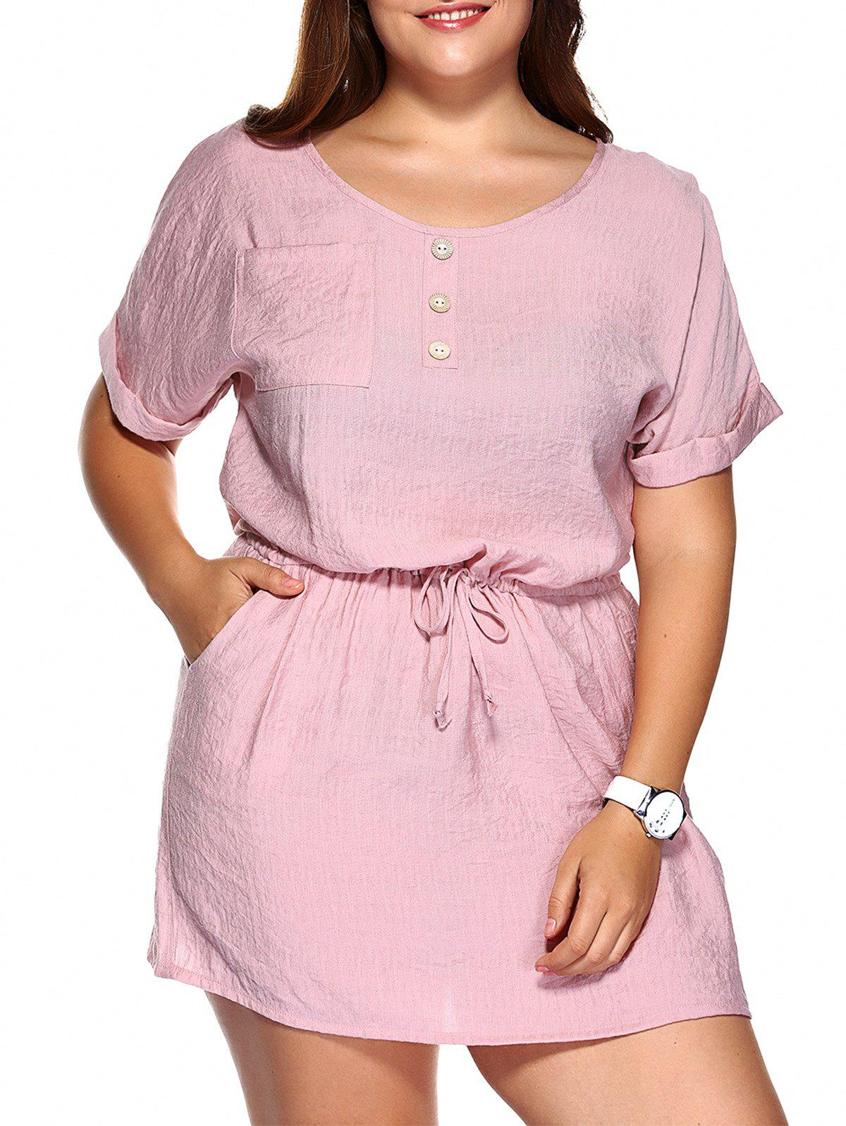 Casual Plus Size Drawstring Cuffed Sleeve Dress - PINK 5XL