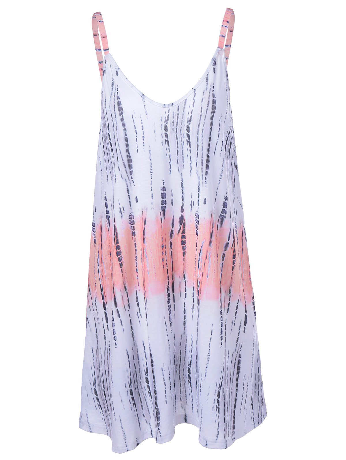 Fashionable Backless Tie-Dye Weave Spaghetti Strap Dress For Women - COLORMIX XL