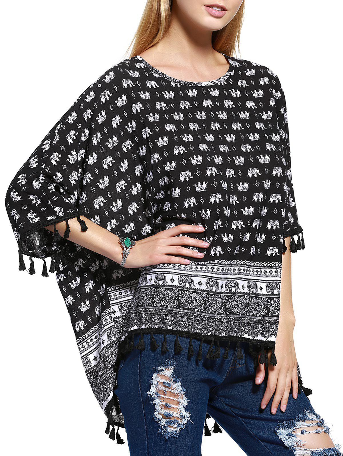 Stylish Tassel Trim Elephant Paisley Print Women's Blouse - ONE SIZE(FIT SIZE XS TO M) BLACK