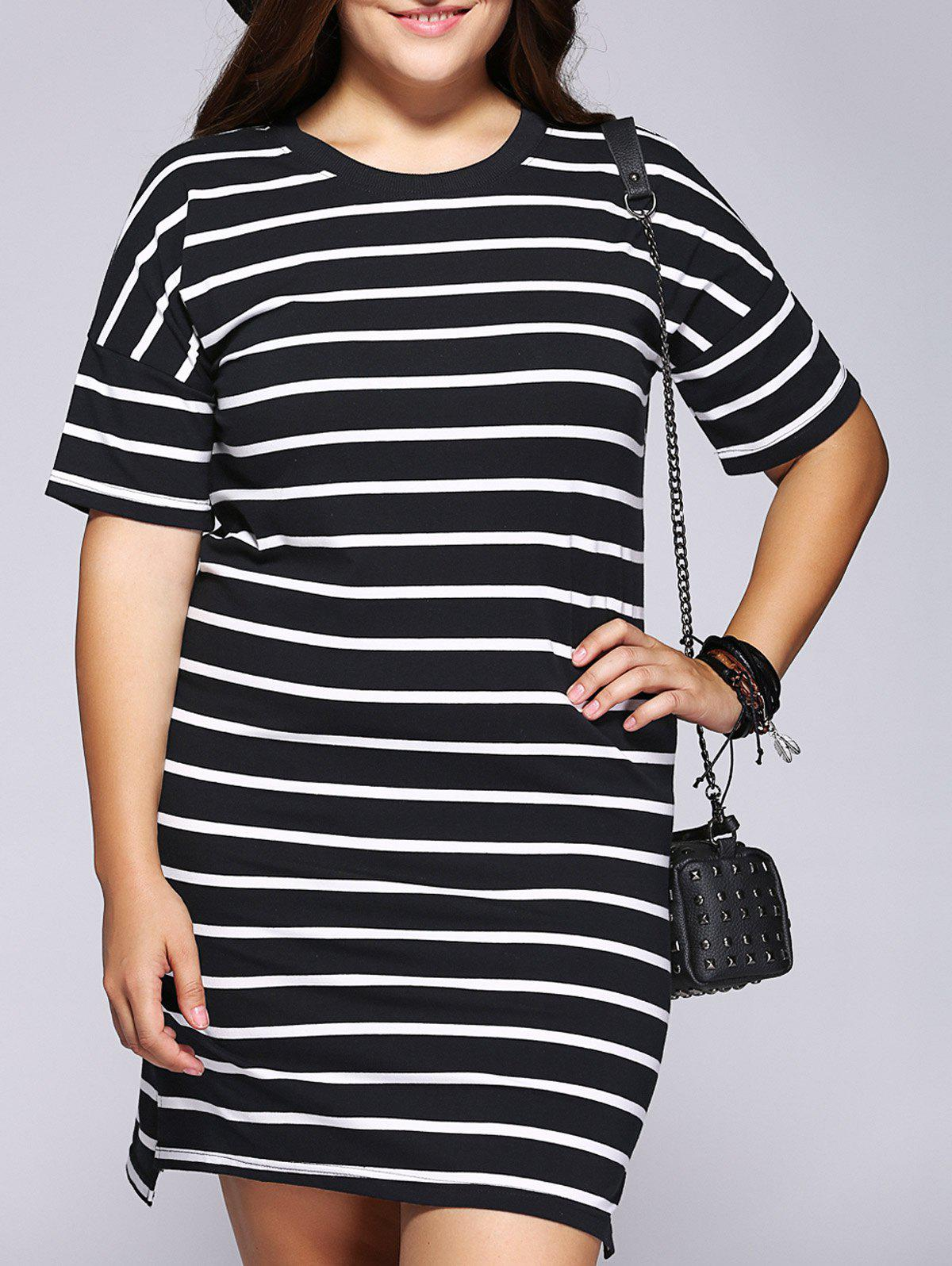 Casual Plus Size Striped Side Slit Shift Dress side slit striped tassel dress