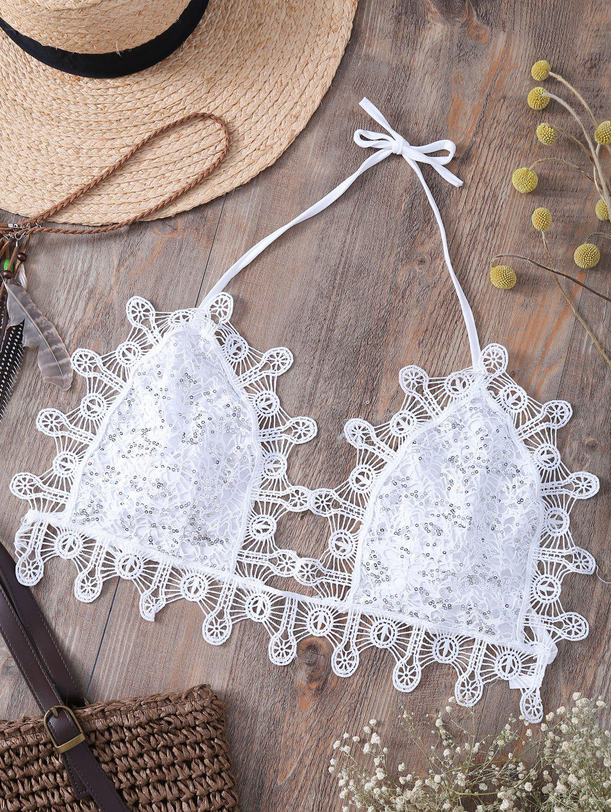 Alluring Halter Lace Sequins Embellished Camisole For Women - WHITE L