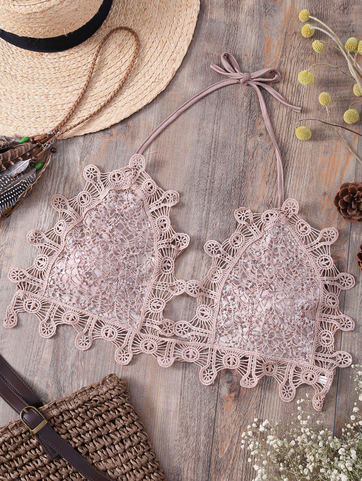 Alluring Halter Sequins Embellished Lace Camisole For Women - LIGHT PINK S