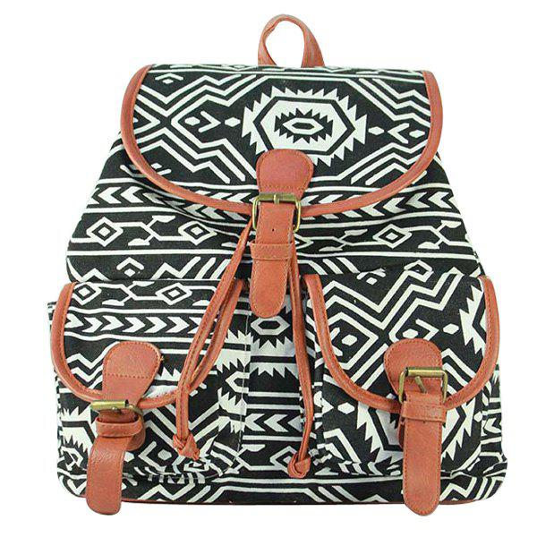 Trendy Printed and Double Pocket Design Women's Satchel - WHITE/BLACK