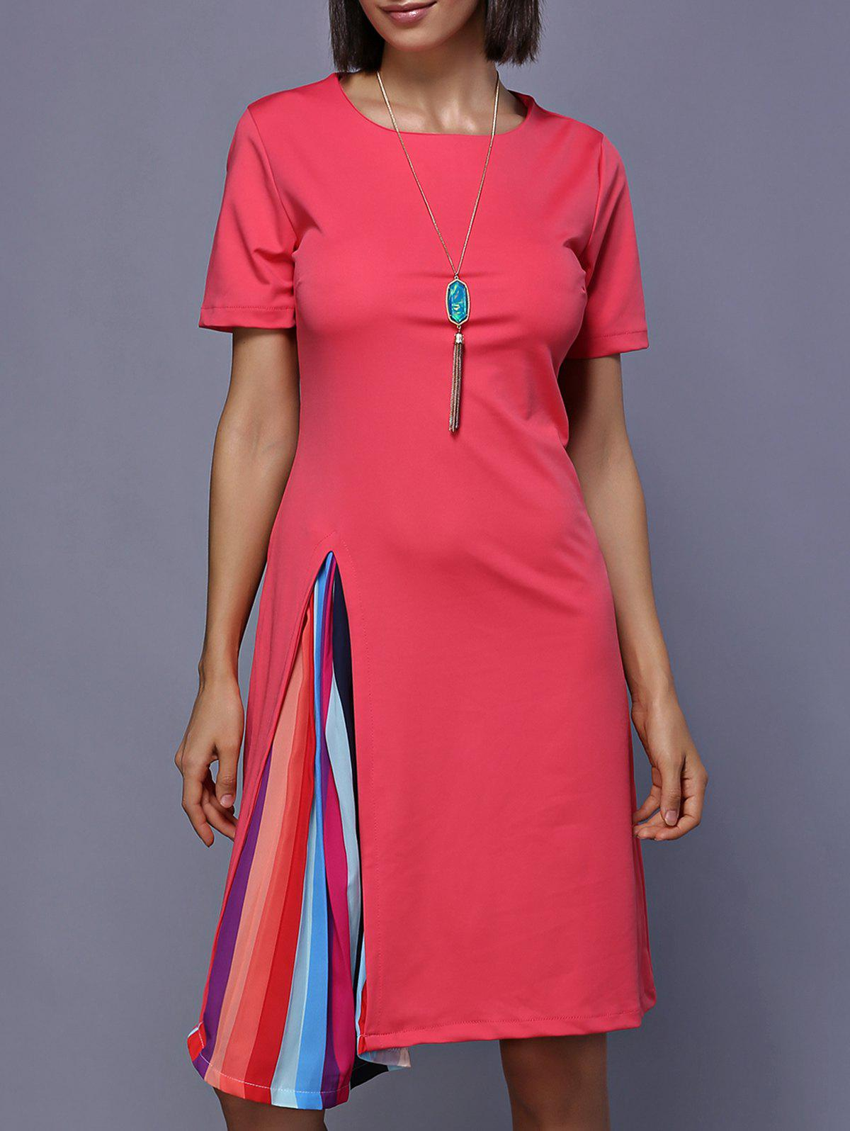 Colorful Splicing Jewel Neck Dress - Rose Rouge L