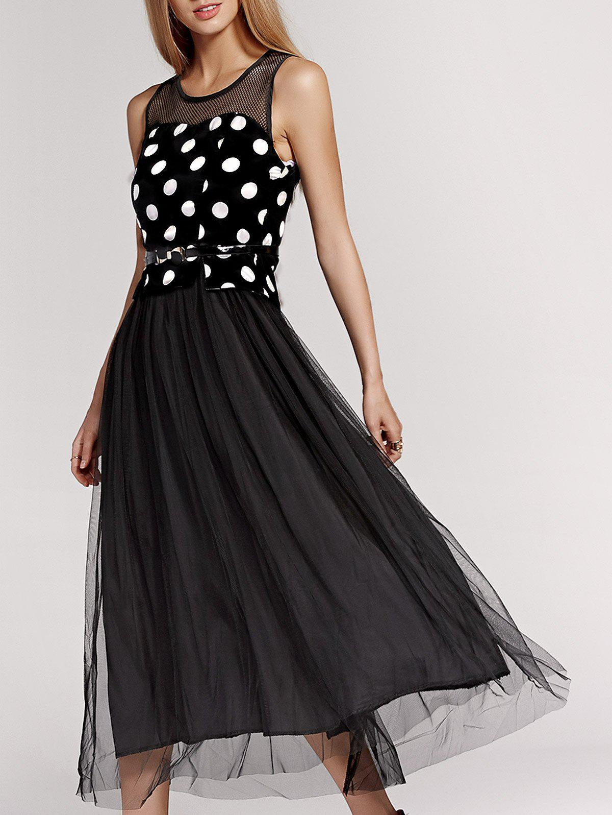 Sweet Gauze Spliced Polka Dot Sleeveless Pleated Dress For Women - BLACK XL