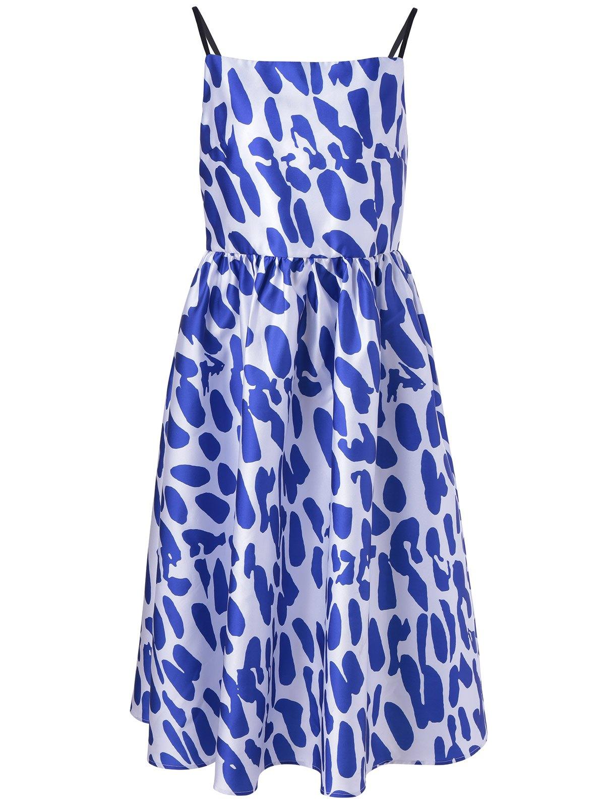 Fashionable Loose-Fitting Spaghetti Strap Dress With Printing For Women
