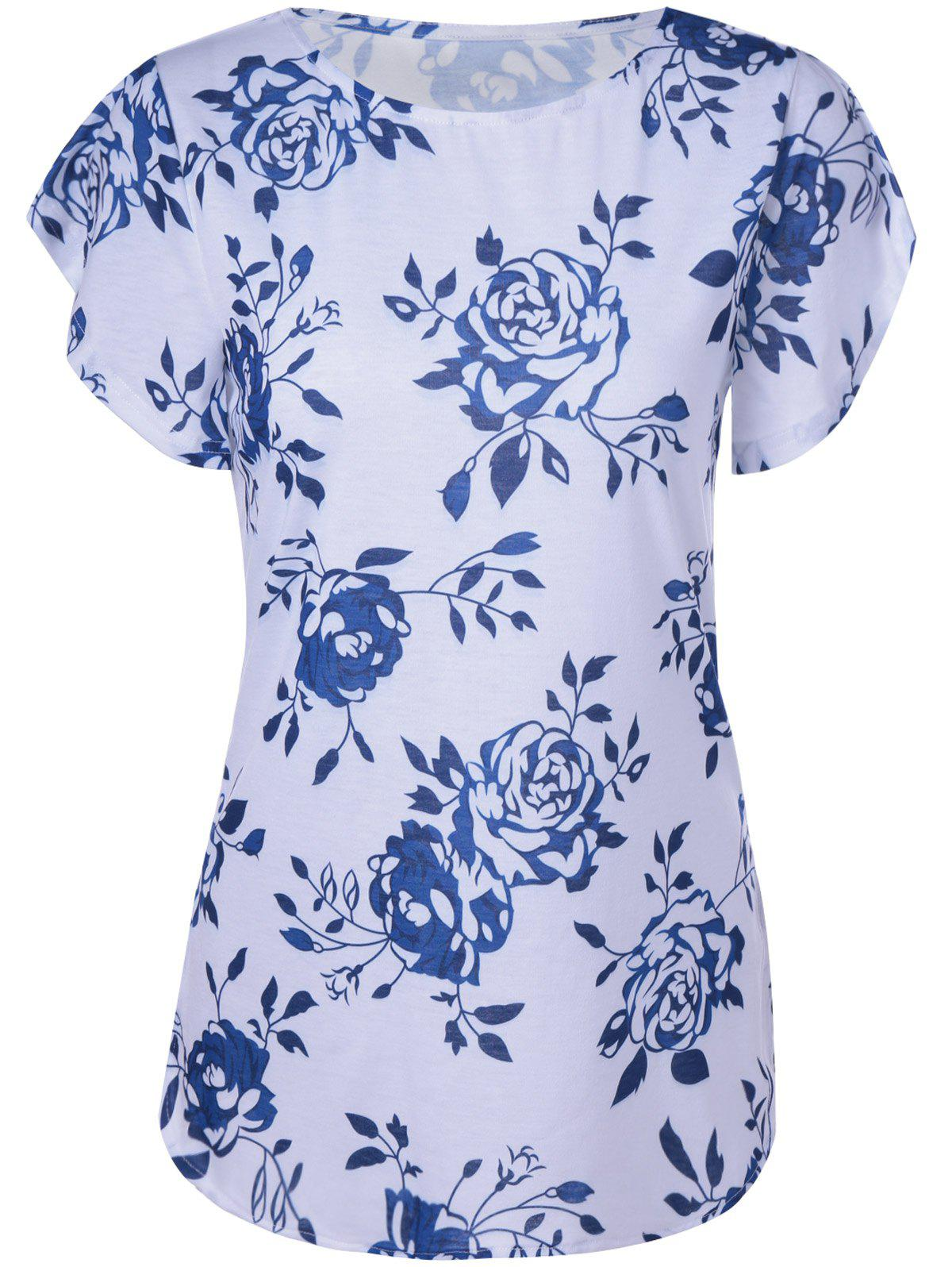 Fashionable Short Sleeves Round Collar Printing With T-Shirt For Women - BLUE/WHITE XL