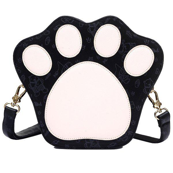 Cute Paw Shape and Print Design Women's Crossbody Bag - BLACK