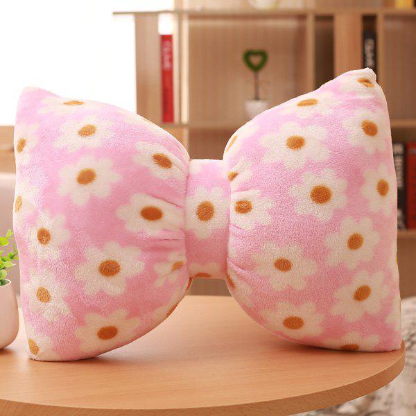 High Quality Home Decoration Flowers Bowknot Shape Flannel Pillow - PINK