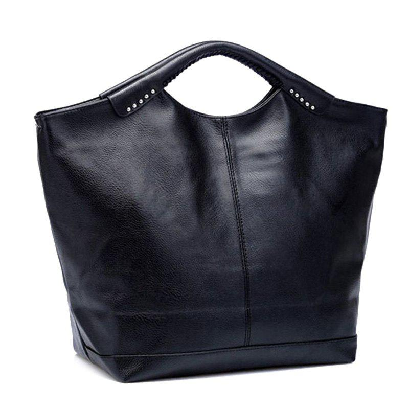 Casual Black and PU Leather Design Women's Tote Bag - BLACK