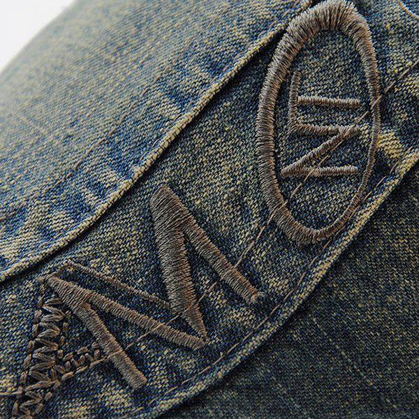 Stylish Letter Embroidery Do Old Denim Fabric Cabbie Hat For Men - BLUE