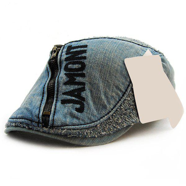 Stylish Letter Shape and Zipper Embellished Do Old Denim Fabric Cabbie Hat For Men - BLACK